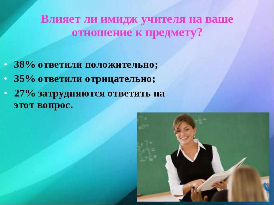 Влияет ли имидж учителя на ваше отношение к предмету? 38% ответили положитель...