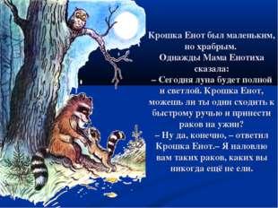 Крошка Енот был маленьким, но храбрым. Однажды Мама Енотиха сказала: –Сегодн