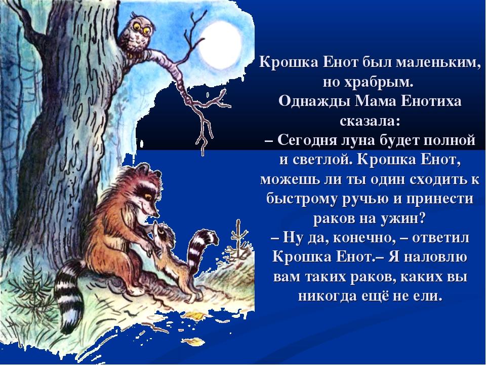 Крошка Енот был маленьким, но храбрым. Однажды Мама Енотиха сказала: –Сегодн...