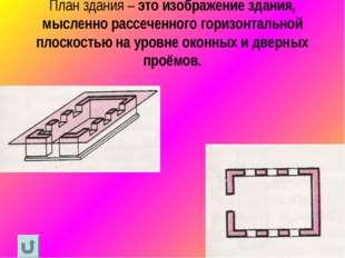 План здания – это изображение здания, мысленно рассеченного горизонтальной пл