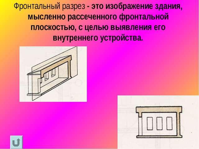 Фронтальный разрез - это изображение здания, мысленно рассеченного фронтально...