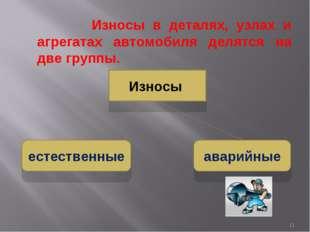 Износы в деталях, узлах и агрегатах автомобиля делятся на две группы. Износы