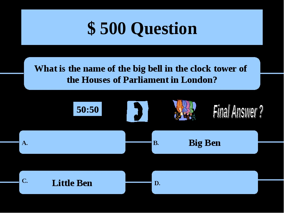 $ 500 Question What is the name of the big bell in the clock tower of the Hou...