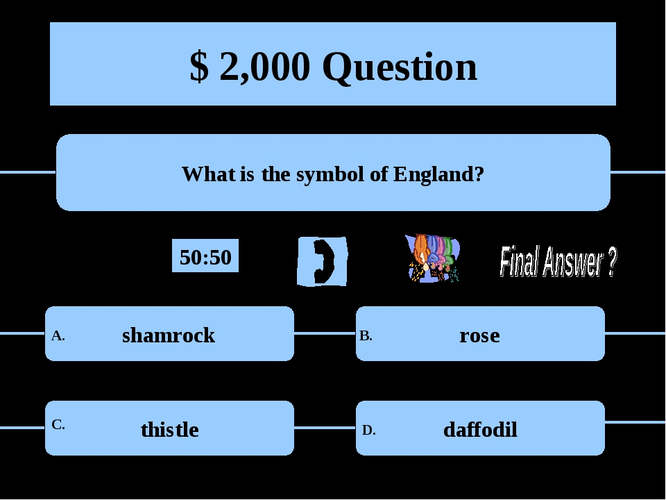 $ 2,000 Question What is the symbol of England? shamrock rose thistle daffodi...