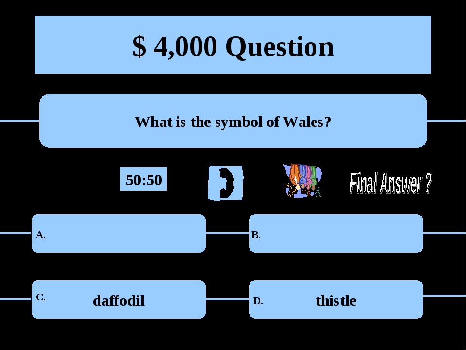 $ 4,000 Question What is the symbol of Wales? daffodil thistle A. B. C. D. 50...