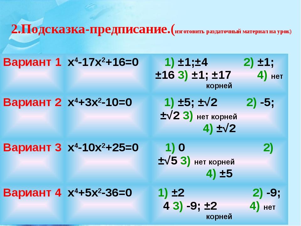 2.Подсказка-предписание.(изготовить раздаточный материал на урок) Вариант 1х...