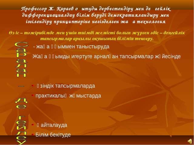 Профессор Ж. Караев оқытуды дербестендіру мен деңгейлік дифференциациалдау бі...