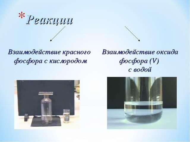 Реакции Взаимодействие красного фосфора с кислородом Взаимодействие оксида фо...