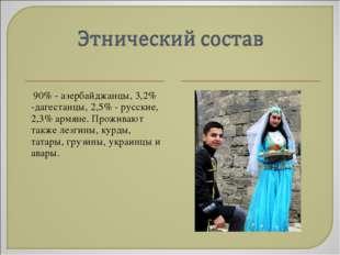 90% - азербайджанцы, 3,2% -дагестанцы, 2,5% - русские, 2,3% армяне. Проживаю