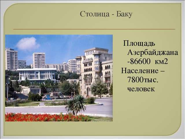 Столица - Баку Площадь Азербайджана -86600 км2 Население – 7800тыс. человек