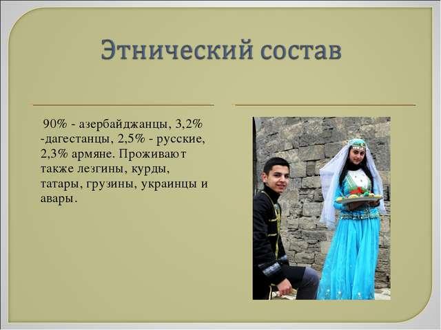 90% - азербайджанцы, 3,2% -дагестанцы, 2,5% - русские, 2,3% армяне. Проживаю...