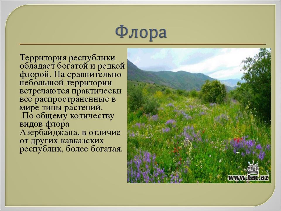 Территория республики обладает богатой и редкой флорой. На сравнительно небо...
