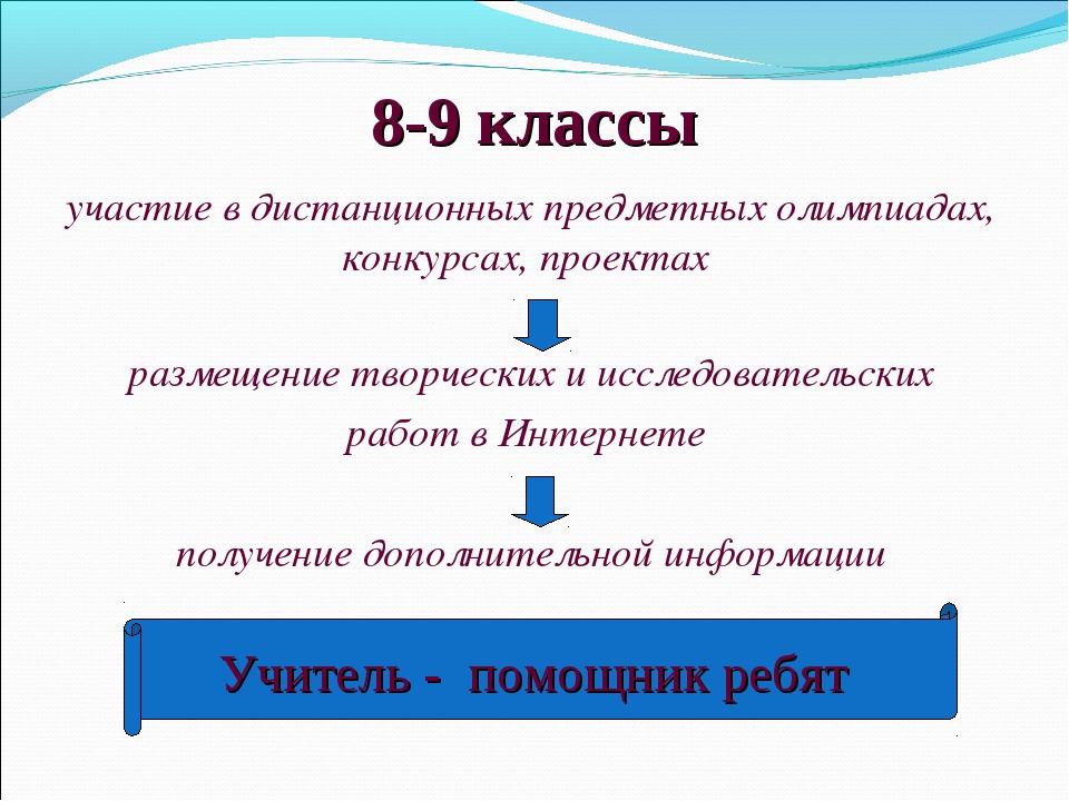 8-9 классы участие в дистанционных предметных олимпиадах, конкурсах, проектах...