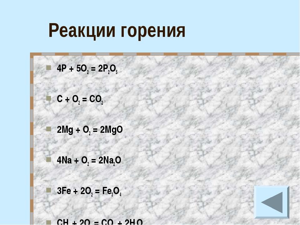 Реакции горения 4P + 5O2 = 2P2O5 C + O2 = CO2 2Mg + O2 = 2MgO 4Na + O2 = 2Na2...