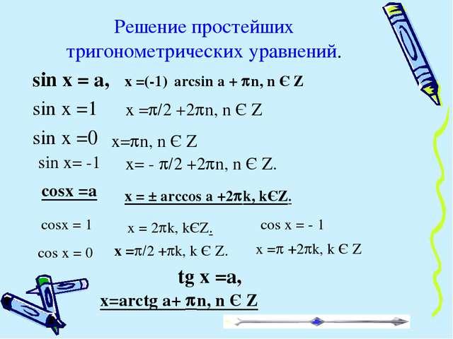 Решение простейших тригонометрических уравнений. sin x = a, sin x =1 sin x =0...