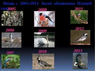 Итак, с 2005-2013 были объявлены Птицей года 2005 2006 2007 2008 2010 2013 2