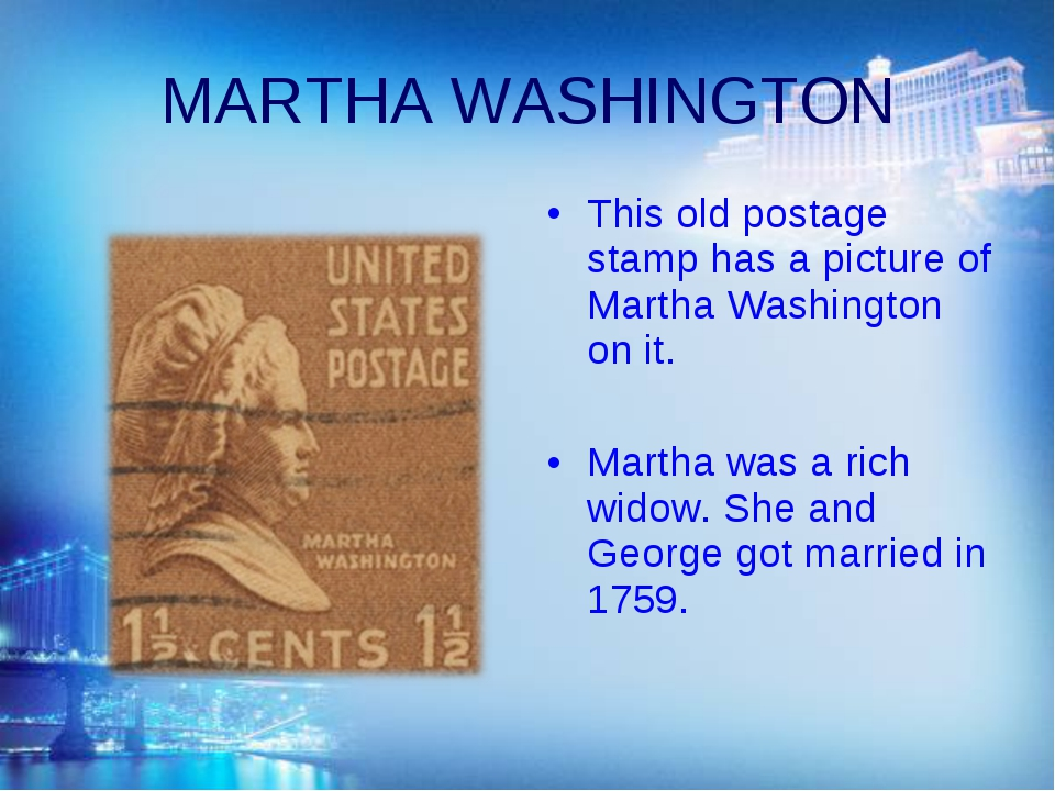 MARTHA WASHINGTON This old postage stamp has a picture of Martha Washington o...