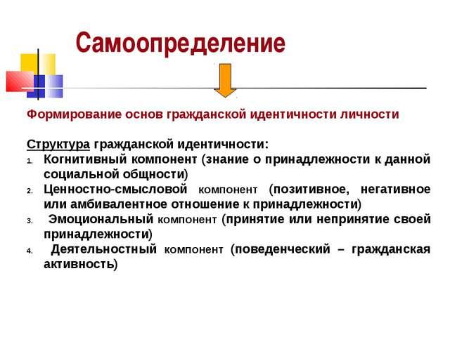 Самоопределение Формирование основ гражданской идентичности личности Структур...