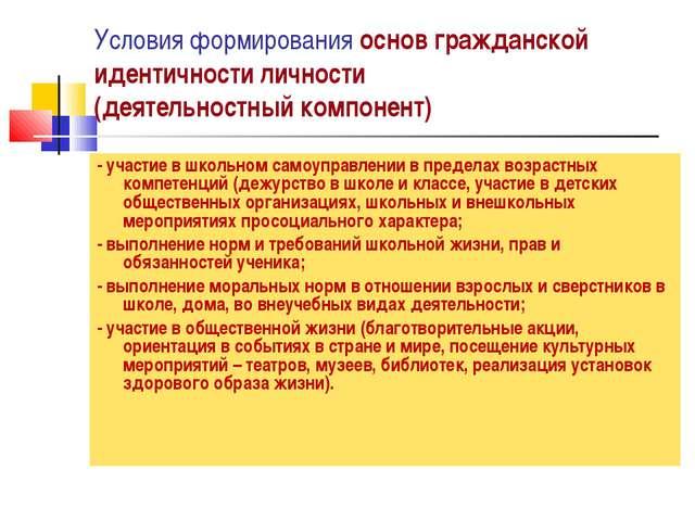 Условия формирования основ гражданской идентичности личности (деятельностный...