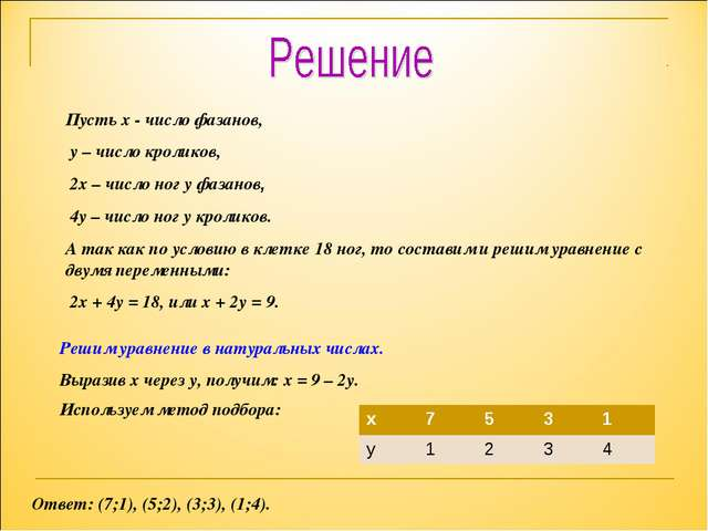 Пусть х - число фазанов, у – число кроликов, 2х – число ног у фазанов, 4у – ч...