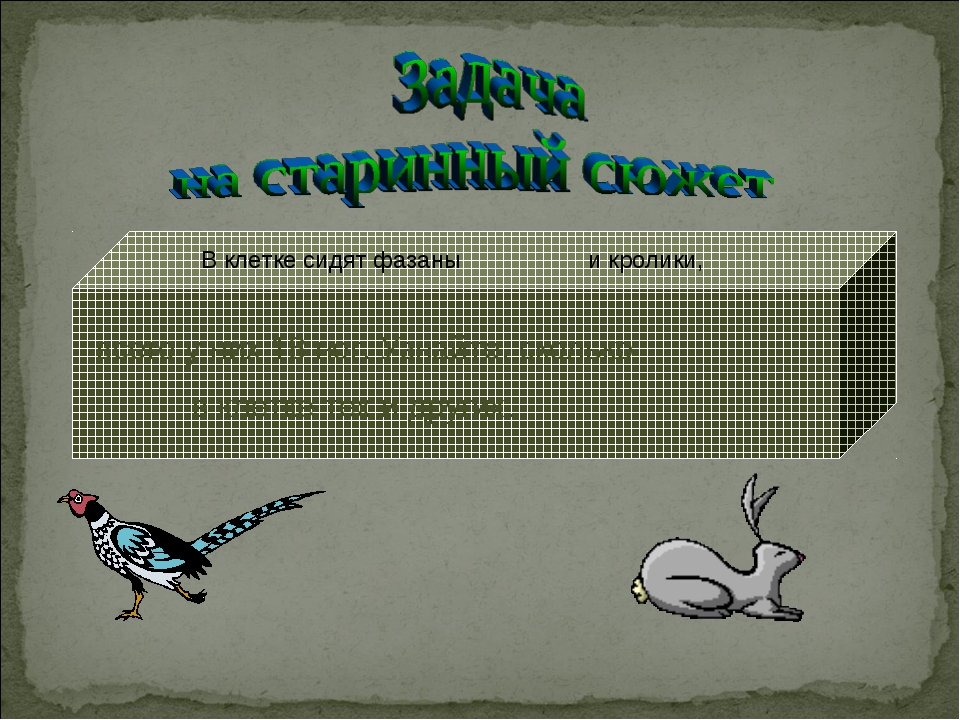 В клетке сидят фазаны и кролики, всего у них 18 ног. Узнайте, сколько в кле...