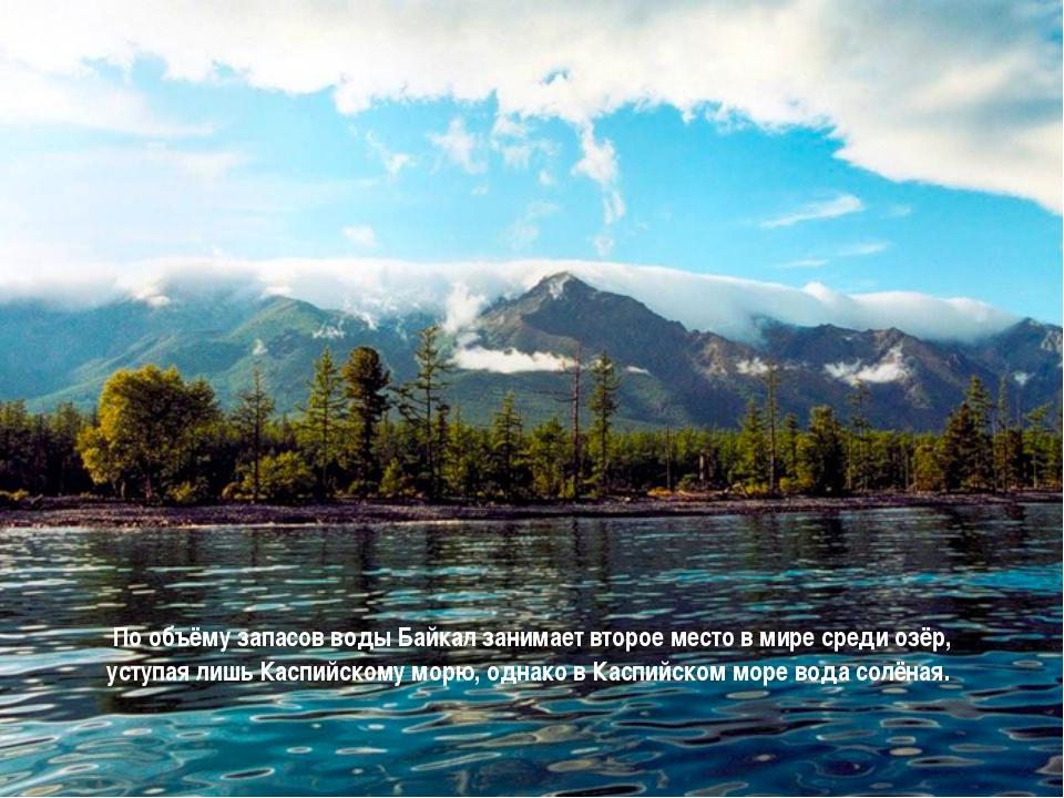 По объёму запасов воды Байкал занимает второе место в мире среди озёр, уступ...