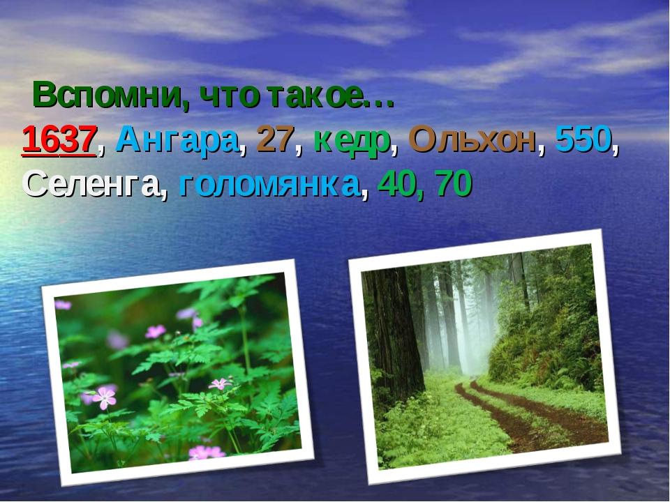 Вспомни, что такое… 1637, Ангара, 27, кедр, Ольхон, 550, Селенга, голомянка,...
