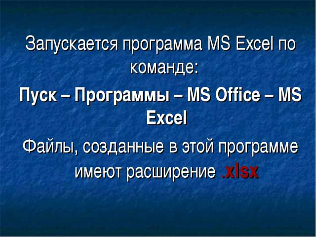 Запускается программа MS Excel по команде: Пуск – Программы – MS Office – MS...