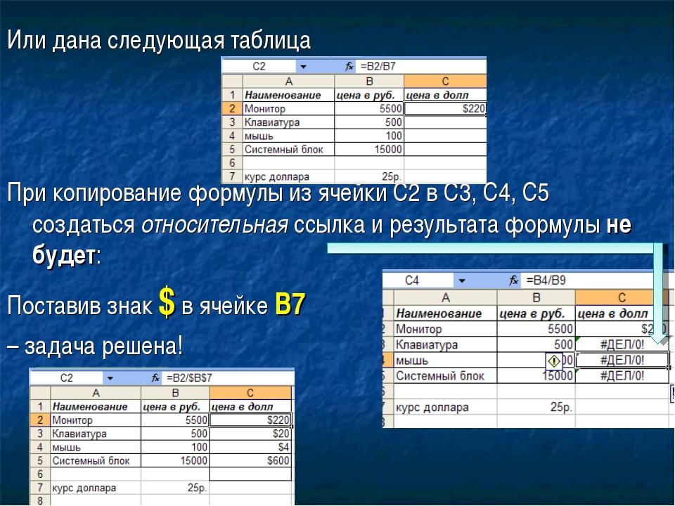 Или дана следующая таблица При копирование формулы из ячейки С2 в С3, С4, С5...