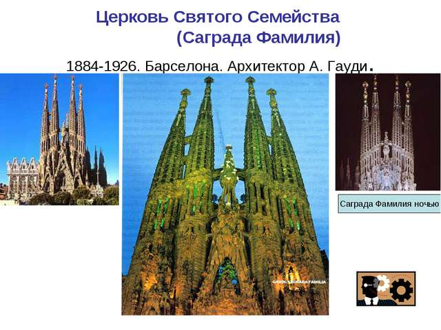 Церковь Святого Семейства (Саграда Фамилия) 1884-1926. Барселона. Архитектор...