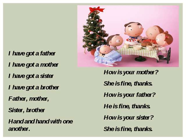 I have got a father I have got a mother I have got a sister I have got a brot...