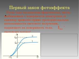 Первый закон фотоэффекта Сила тока насыщения (фактически, число выбиваемых с