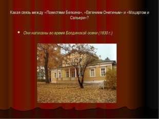 Какая связь между «Повестями Белкина», «Евгением Онегиным» и «Моцартом и Саль