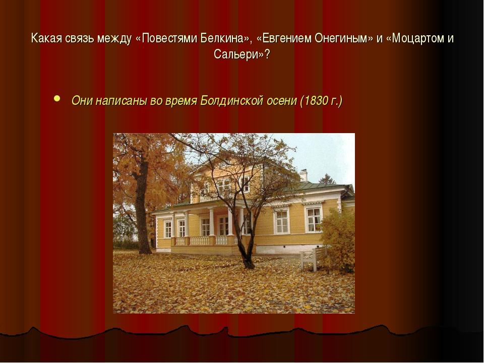 Какая связь между «Повестями Белкина», «Евгением Онегиным» и «Моцартом и Саль...