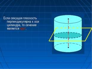 Если секущая плоскость перпендикулярна к оси цилиндра, то сечение является кр