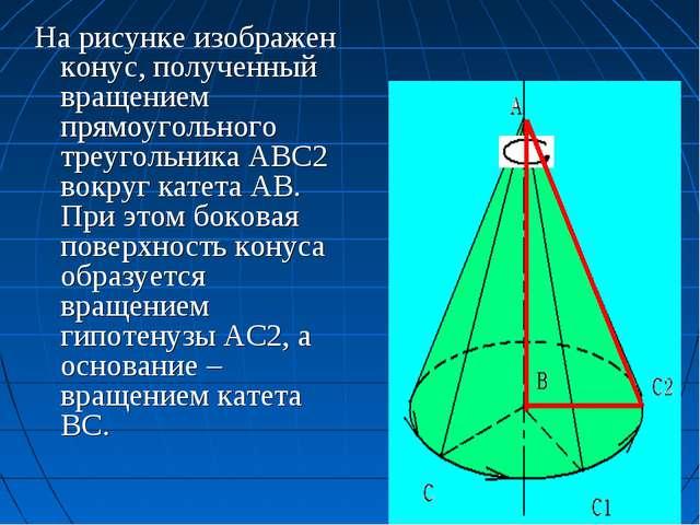 На рисунке изображен конус, полученный вращением прямоугольного треугольника...