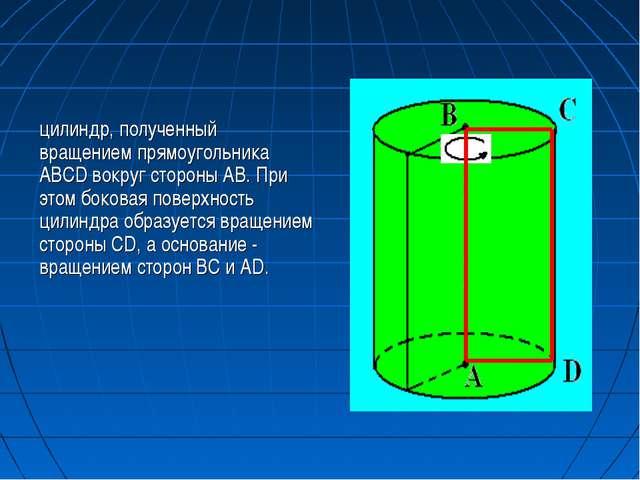 цилиндр, полученный вращением прямоугольника ABCD вокруг стороны AB. При этом...