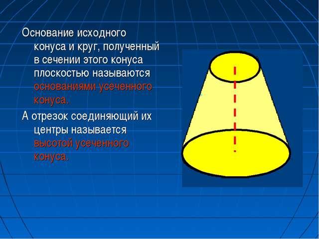 Основание исходного конуса и круг, полученный в сечении этого конуса плоскост...