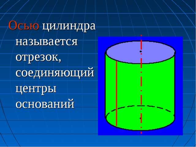 Осью цилиндра называется отрезок, соединяющий центры оснований