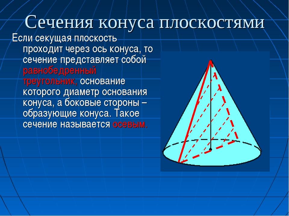 Сечения конуса плоскостями Если секущая плоскость проходит через ось конуса,...