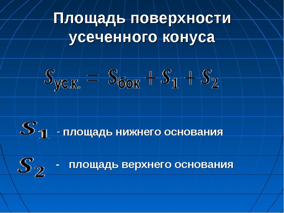 Площадь поверхности усеченного конуса - площадь нижнего основания - площадь в...