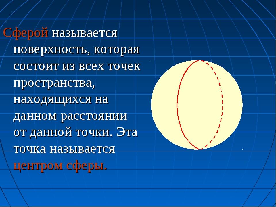 Сферой называется поверхность, которая состоит из всех точек пространства, на...