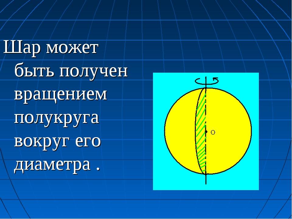 Шар может быть получен вращением полукруга вокруг его диаметра .