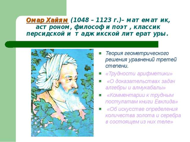 Омар Хайям (1048 – 1123 г.)– математик, астроном, философ и поэт, классик пер...