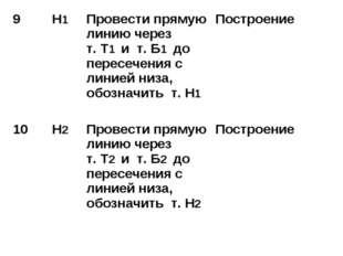 9 Н1 Провести прямую линию через т. Т1 и т. Б1 до пересечения с линией низа