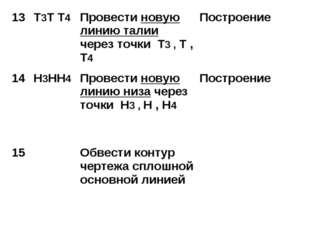 13Т3Т Т4Провести новую линию талии через точки Т3 , Т , Т4 Построение 14Н