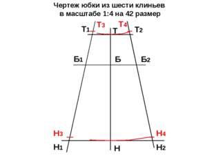 Чертеж юбки из шести клиньев в масштабе 1:4 на 42 размер Т Н Б Т2 Т1 Б2 Б1 Н1