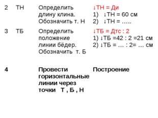 2 ТНОпределить длину клина. Обозначить т. Н↓ТН = Ди 1) ↓ТН = 60 см 2) ↓ТН
