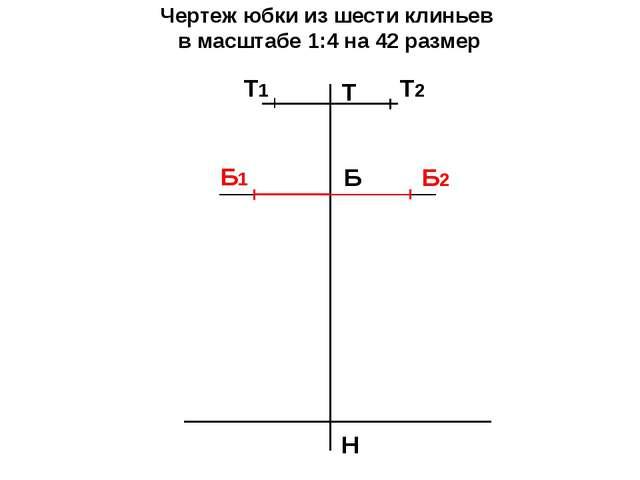 Чертеж юбки из шести клиньев в масштабе 1:4 на 42 размер Т Н Б Т2 Т1 Б2 Б1