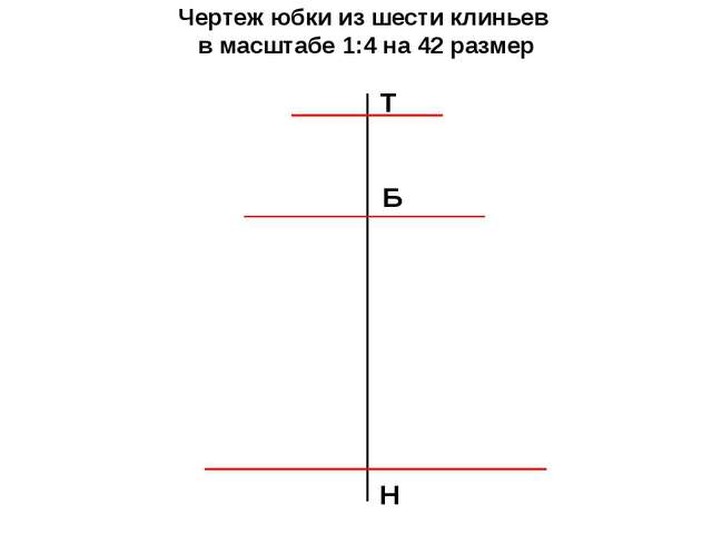 Чертеж юбки из шести клиньев в масштабе 1:4 на 42 размер Т Н Б